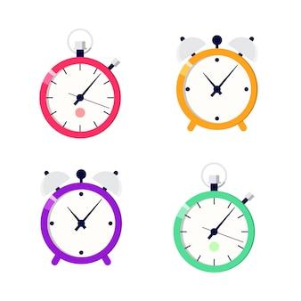 Illustrations de dessins d'horloge et de chronomètre