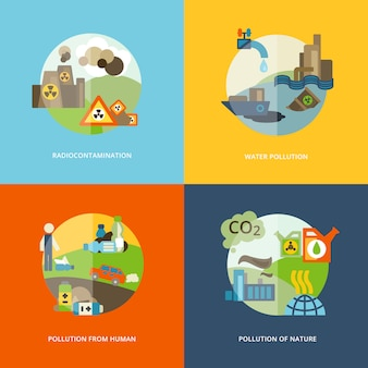 Illustrations d'éléments de pollution à plat