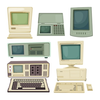 Illustrations d'époque d'ordinateurs de bureau et d'autres gadgets de techniciens différents