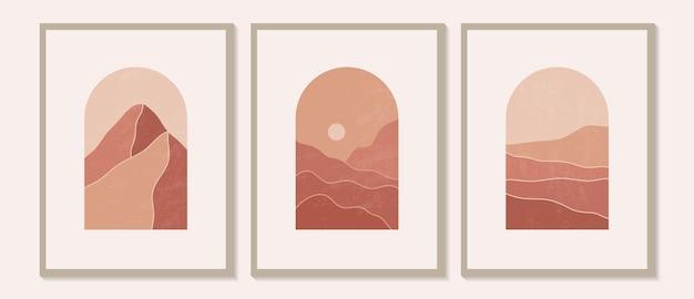 Illustrations esthétiques de paysages de montagne abstraits minimalistes modernes et contemporains