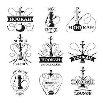 Illustrations et étiquettes ensemble de différents narguilés.