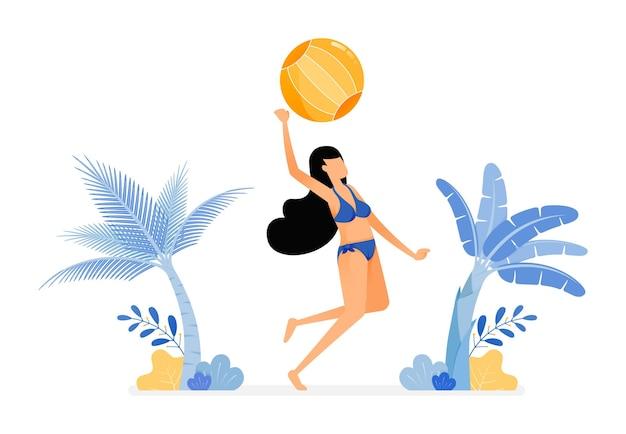 Illustrations de femmes en maillot de bain sexy sauter smash frapper un volleyball