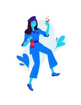 Illustrations d'une fille avec un verre et une bouteille de vin.
