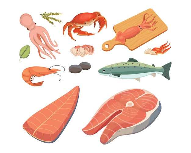 Illustrations de fruits de mer mis à plat du poisson frais et du crabe. homard et huître, crevettes et menu, poulpe, crustacés citron.