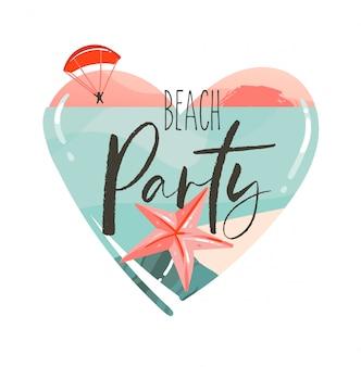 Illustrations graphiques de plage d'été dessin animé dessinés à la main en forme de coeur avec paysage de plage océanique, vue coucher de soleil rose et texte de typographie beach party