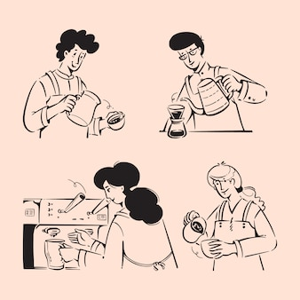 Illustrations de griffonnages barista people