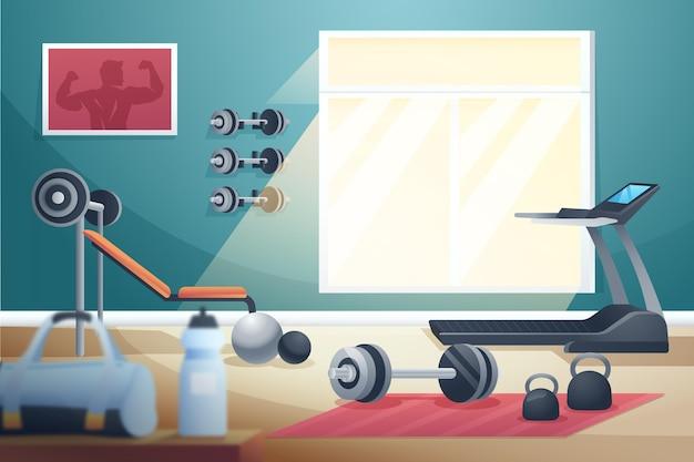 Illustrations de gym à domicile dégradé =