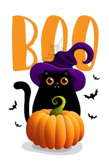 Illustrations d'halloween avec lettrage et chat noir.