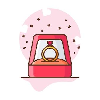 Illustrations d'icône d'amour de bague saint-valentin.