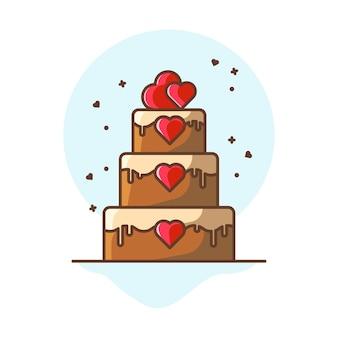 Illustrations d'icône de gâteau saint-valentin.