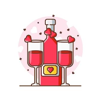 Illustrations d'icône de pain grillé à la bière. concept d'icône saint-valentin blanc isolé.