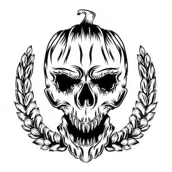 Illustrations illustration de tête de crâne de citrouilles