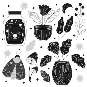 illustrations incolores dessinées à la main