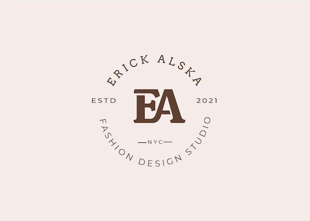 Illustrations initiales du modèle de conception de logo de lettre ea