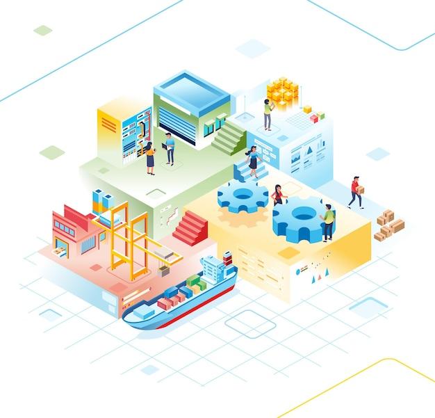 Illustrations d'isométrie des types d'entreprises numériques achetant et vendant des entreprises livraison de marchandises