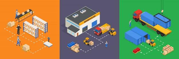 Illustrations isométriques d'entrepôt