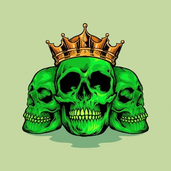 Illustrations de king family skull green