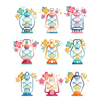 Illustrations de lanterne arabe sur fond blanc
