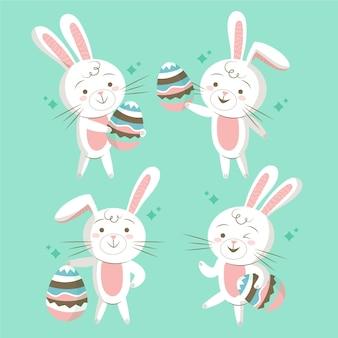 Illustrations de lapin de pâques dessinés à la main