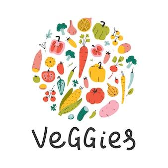 Illustrations de légumes dessinés à la main disposés en cercle avec lettrage