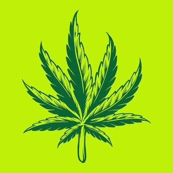 Illustrations de logo simple feuille de kush weed