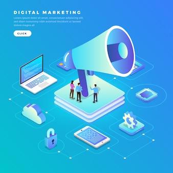Illustrations marketing numérique concept design plat