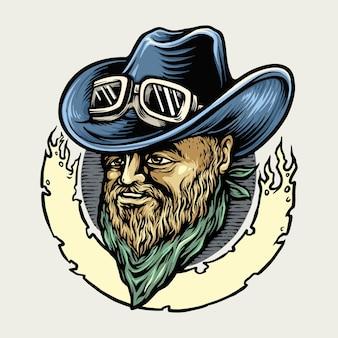 Illustrations de mascotte cowboy riders man