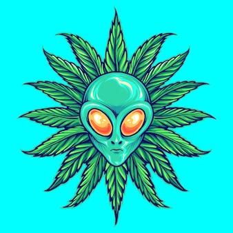 Illustrations de mascotte de marijuana d'herbe tropicale extraterrestre