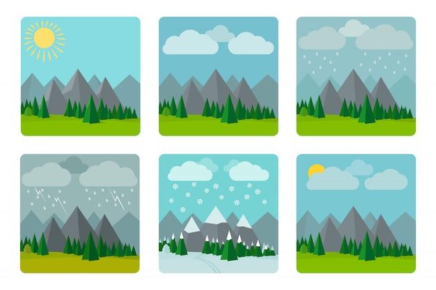 Illustrations météo en style plat