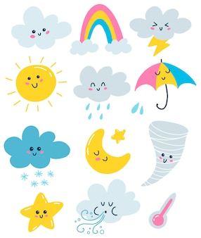 Illustrations météo vectorielles plat définies dans un style primitif.