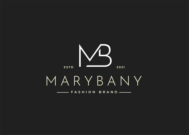 Illustrations de modèle de conception de logo de lettre initiale mb minimaliste