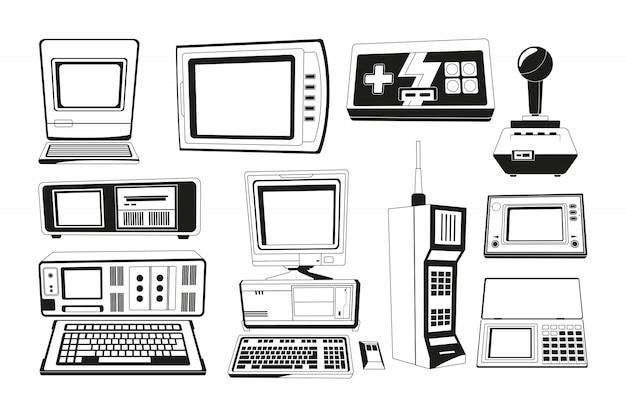 Illustrations monochromes de gadgets de techniciens