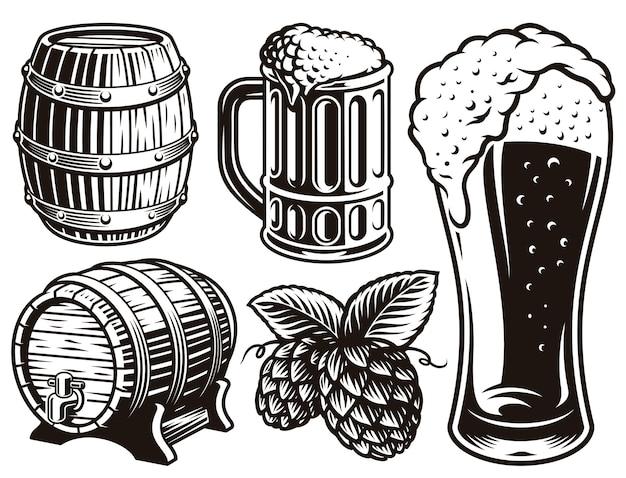 Illustrations en noir et blanc pour le thème de la bière