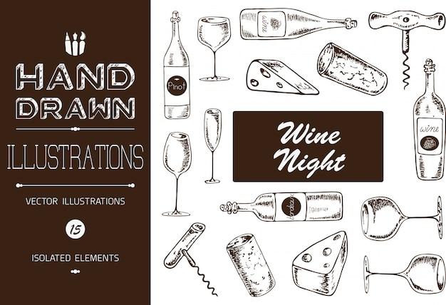 Illustrations de nuit de vin dessinés à la main