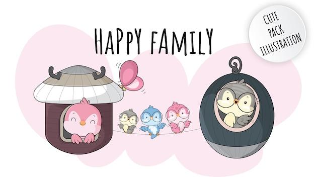 Illustrations d'oiseaux de famille heureuse animal mignon plat pour les enfants