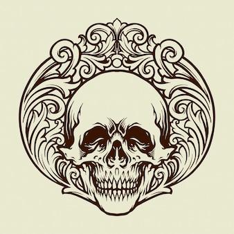 Illustrations d'ornements vintage de crâne de silhouette