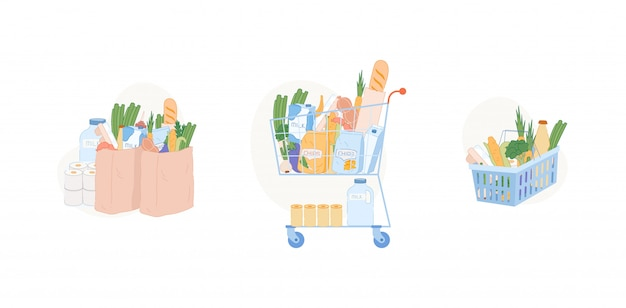 Illustrations d'un panier d'épicerie: un sac en papier avec des légumes frais, un panier en plastique et un chariot avec des produits