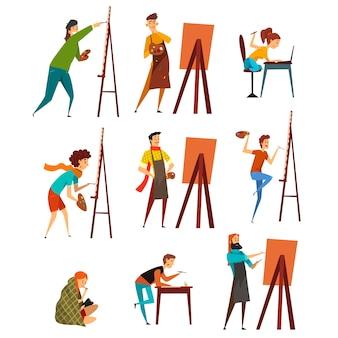 Illustrations de personnages de peintre sur fond blanc