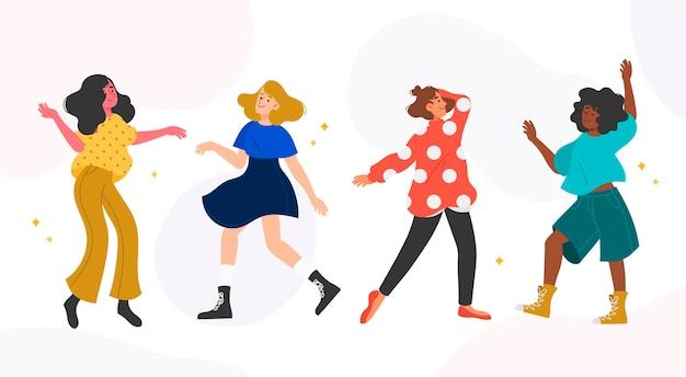 Illustrations de personnes dessinées à la main dansant