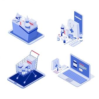 Illustrations de pharmacie en ligne isométrique