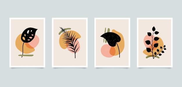 Illustrations de plantes abstraites minimalistes esthétiques modernes. collection d'affiches d'art de décoration murale de composition contemporaine.