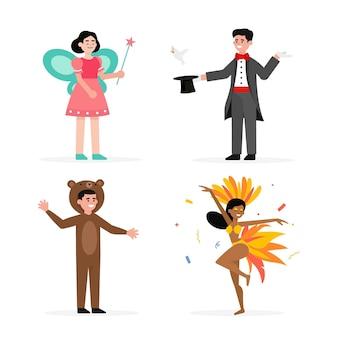 Illustrations plates de personnages de carnaval portant des costumes