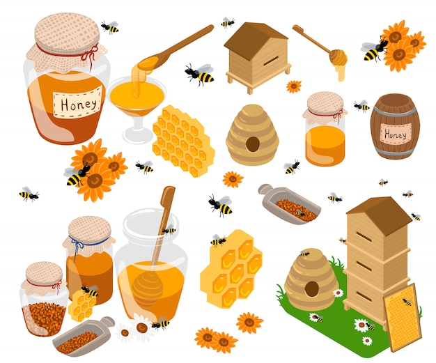Illustrations plates de produits de miel. pots et autres produits de miel sur la table. biologique et naturel. banques, abeilles, nids d'abeilles, ruches d'abeilles, tournesol isolé sur blanc