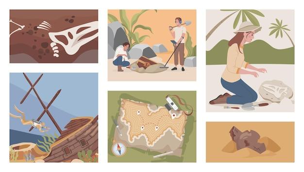 Illustrations plates de vecteur de fouilles archéologiques hommes et femmes creusant à l'aide