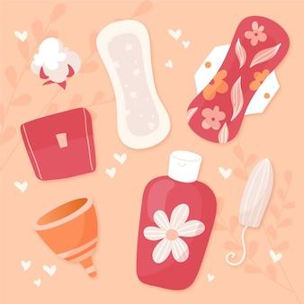 Illustrations de produits d'hygiène féminine