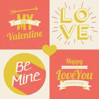 Illustrations de la saint valentin et éléments typographiques