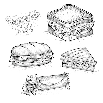 Illustrations de sandwich de style dessiné à la main, vecteurs gratuits et grand choix de types