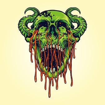 Illustrations de sang de crâne de zombie démon diable