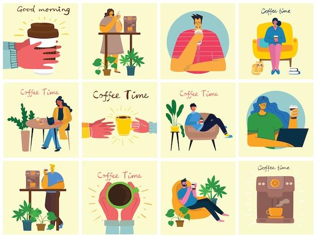 Illustrations de service à café.