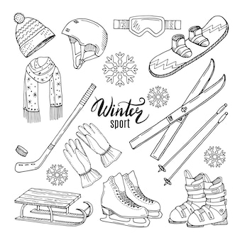 Illustrations de sports d'hiver.